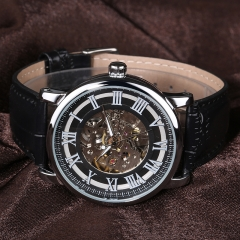 Men Automatic Business Leather Strap Wristwatch 4