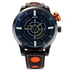 Men Waterproof Sports Watch Leather Strap Wristwatch Yellow
