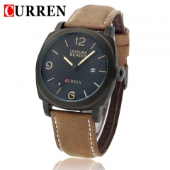 Men Scrub Leather Watch Quartz Waterproof Wristwatch Black