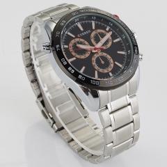 Stainless Steel Men Watch Quartz Wristwatch sliver+orange