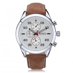 Men Business Watch Quartz Waterproof Wristwatch Brown+White