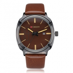 Men Leather Strap Business Quartz Wristwatch Brown Dial