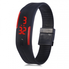 LED Watch Date Red Digital Rubber Wristband Rectangle Dial Black one size