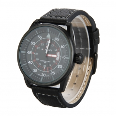 Men Quartz Leather Band Wristwatch Black