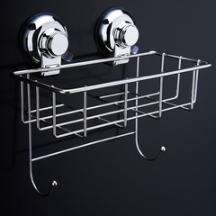 Floureon®CW810 Stainless Steel Kitchen & Bathroom Square Storage Basket Vacuum Suction Cup Hook Holder