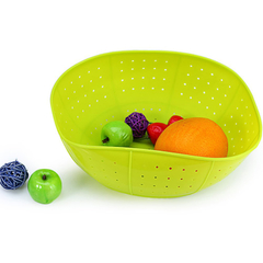 Creative Silicone Draining Basket Kitchen Ware Rice and Vegetables Washing Dish Cover Green One Size