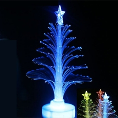 12cm Multi-Color Twinkle LED Desktop Paster Crystal Christmas Tree with Star Decoration Multi-Color One Size