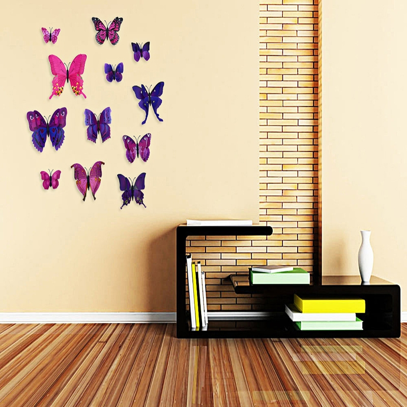 DIY 12pcs PVC 3D Butterfly Wall Decor Stickers for Bedroom Office ...