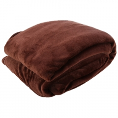 200 x 230cm Solid Color Flannel Blanket for Home Use Coffee 200 x 230cm
