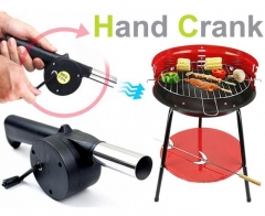 Practical Hand Crank Barbecue Fan Blower for Camping Outdoor Activities