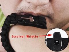5 in 1 Outdoor Survival Gear Escape Paracord Bracelet Flint / Whistle / Compass / Scraper Black 26.85×3.17×1.32