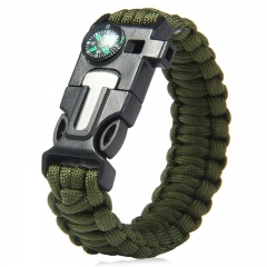 5 in 1 Outdoor Survival Gear Escape Paracord Bracelet Flint / Whistle / Compass / Scraper Army Green 26.85×3.17×1.32