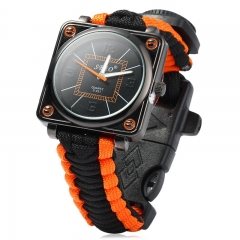 Outdoor Watch with Survival Compass Whistle Fire Starter Watchband Bracelet Black and Orange One size
