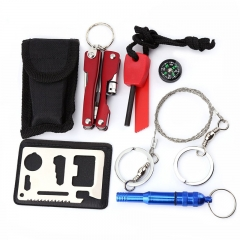 Practical SOS Emergency Equipment Outdoor Survival Whistle Compass Plier Tool Kit Ramdon One size