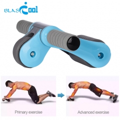 Portable Foldable Abdominal Wheel Multifunctional Two-wheeled Mute Exercise Fitness Abdominal Roller Blue One Size