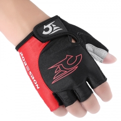 Unisex Shock-absorbing Foam Pad Half Finger Cycling Gloves Red with Black L