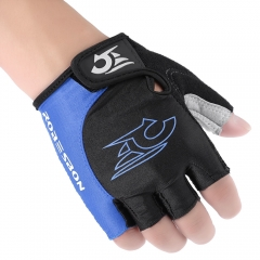 Unisex Shock-absorbing Foam Pad Half Finger Cycling Gloves Blue with Black XL