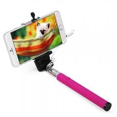 3.5mm USB Cable Connection Extendable Self Portrait Selfie Handhold Stick Monopod Rose