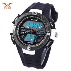 Dual Movt Digital Quartz Sports Watch Calendar Alarm Chronograph Display Wristwatch White One Size