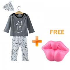 3pcs Jewel Collar Long Sleeve Milk Bottle Printed T-Shirt Long Pants with Hat for Baby Boys As the picture 70