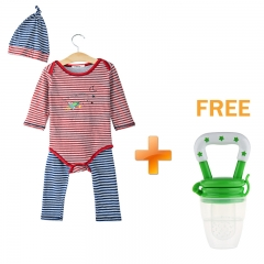 3pcs Jewel Neck Long Sleeve Striped Jumpsuit Long Pants with Hat for Baby Boys As the picture 90