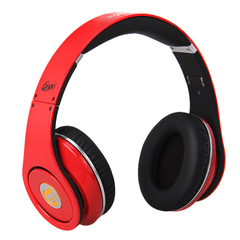 Syllable  DJ Headphones Hifi Stereo Foldable Wired Headset Red