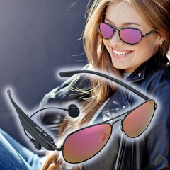 Wireless Bluetooth Polarized Sport Sunglasses Headset Headphone Hands-Free Talk Purple One size