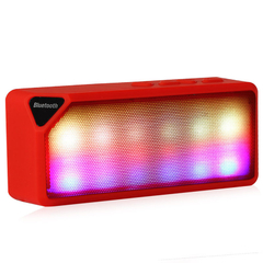 X3S Mini Colorful LED Lights Pulse Wireless Bluetooth Speaker Support Handsfree for Smartphone Red One size
