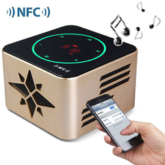 KR - 8100 NFC 3D Sound Wireless Bluetooth  LED Display Light Sensitive Touch Button Speaker Golden One Size