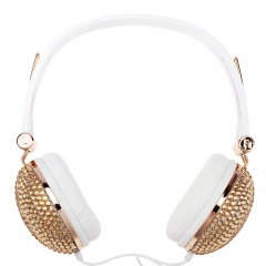 Artificial Crystal Rhinestone Bling Earphones with Anti-noise Music Function Golden and White