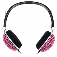 Artificial Crystal Rhinestone Bling Earphones with Anti-noise Music Function Red and Black
