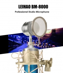 BM - 8000 Professional Sound Studio Recording Condenser Microphone with  Plug Stand Holder Blue One size none