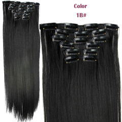 2016 New Straight 16 Clips in Hair Styling Synthetic Extensions  for Christmas Gift 1B# One Size