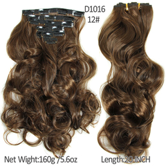 2016 New Hairpiece Curly 16 Clips in  Hair Styling Synthetic Clip In Hair Extensions 2 35cm