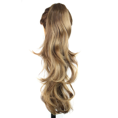 Fashion Long Claw Clip long Ponytail Hair Curly Synthetic Hairpieces Light Brown 24cm