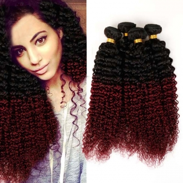 100% Unprocessed Virgin Hair Kinky Curly Style Ombre Human Hair 1pc/100g  for Valentine's Day Wine Red 14inch