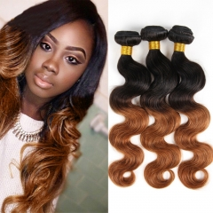 100% Unprocessed Virgin Hair Body Wave Style Ombre Human Hair Dark Brown 14inch