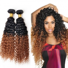 100% Unprocessed Virgin Hair Kinky Curly Style Ombre Human Hair Dark Brown 12inch