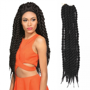 """2016 New Arrival 24"""" Rope Twist Braid Curly Hair Synthetic Braid Hair Extensions for Christmas Gift Black 60cm"""