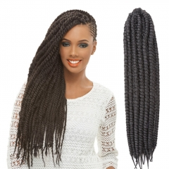 """2016 New Arrival 22"""" Mambo Twist Braid Curly Hair Synthetic Braid Hair Extensions for Christmas Gift Black 55cm"""