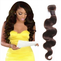 100% Unprocessed Virgin Hair Body Wave Style Human Hair 1pc  for Valentine's Day Brown 12inch