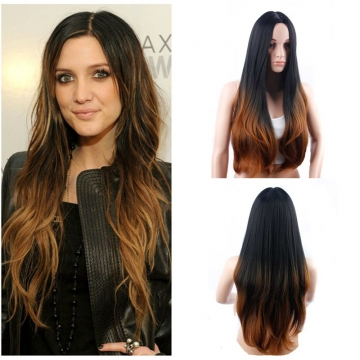 New Arrival Ombre Synthetic Hair Hot Sale Gradient Color Long Curly Hair  for Christmas Gift 1 71cm