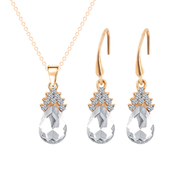Rhinestone Crystal Waterdrop-shaped Necklace and Earrings White One size