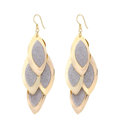 Oval Alloy Earring Golden One size