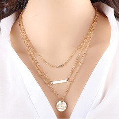 Three-strand Necklace with Bar Golden One size