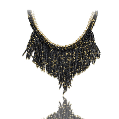 Bead Pendant Golden Chain Necklace Black One size