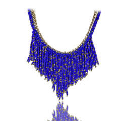 Bead Pendant Golden Chain Necklace Blue One size