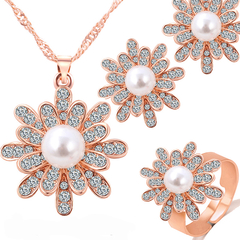 Flower-shaped Crystal Necklace+Earrings+Ring Golden One size