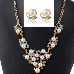 Pearl Pendant Necklace+Earrings