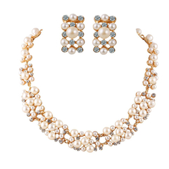 Faux Pearl Round Necklace and Earrings